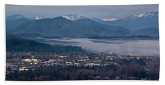 Morning Fog Over Grants Pass Beach Towel by Mick Anderson