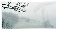 Beach Towel featuring the photograph Morning Fog - Winter In Switzerland by Susanne Van Hulst