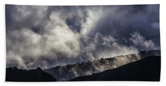 Morning Fog,mist And Cloud On The Moutain By The Sea In Californ Beach Towel