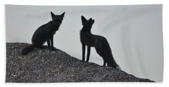 Morning Foxes Beach Towel