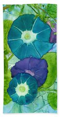 Morning Glories In Watercolor On Yupo Beach Towel