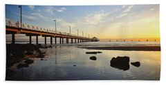 Morning Light Down By The Pier Beach Towel