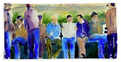 Morning Meeting In Portsmouth Square Beach Towel by Tom Simmons