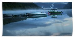 Morning Mist Adams Lake Beach Sheet by Theresa Tahara