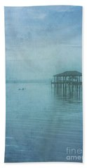 Beach Sheet featuring the digital art Morning Mist In Blue by Randy Steele
