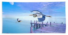 Morning Moon And Gray Herons Beach Towel