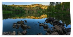 Morning Reflection On Castle Lake Beach Towel
