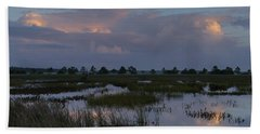 Morning Reflections Over The Wetlands Beach Towel