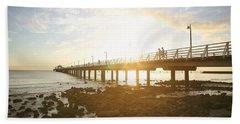 Morning Sunshine At The Pier  Beach Sheet