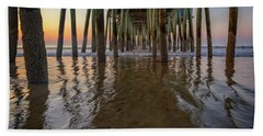 Beach Sheet featuring the photograph Morning Under The Pier, Old Orchard Beach by Rick Berk