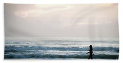 Morning Walk With Color Beach Towel
