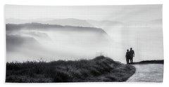 Morning Walk With Sea Mist Beach Sheet