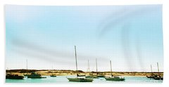Moro Bay Inlet With Sailboats Mooring In Summer Beach Towel