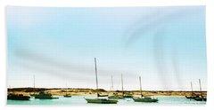 Moro Bay Inlet With Sailboats Mooring In Summer Beach Sheet