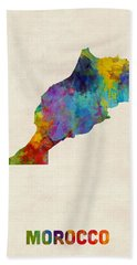 Beach Towel featuring the digital art Morocco Watercolor Map by Michael Tompsett