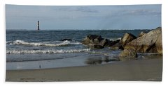 Beach Towel featuring the photograph Morris Lighthouse by Sandy Keeton