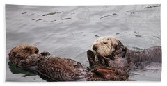 Beach Sheet featuring the photograph Morro Bay Sea Otters by Art Block Collections