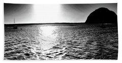 Morro Rock, Black And White Beach Towel
