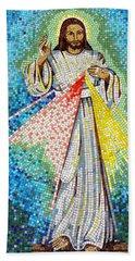 Mosaic Of Christ Rising Beach Sheet by Joseph Frank Baraba