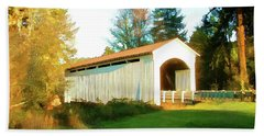 Beach Towel featuring the photograph Mosby Creek Covered Bridge by Wendy McKennon