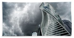 Moscow City And Storm Beach Towel