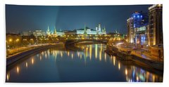 Beach Towel featuring the photograph Moscow Kremlin At Night by Alexey Kljatov