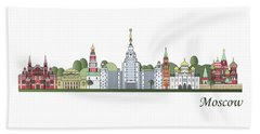 Moscow Skyline Colored Beach Towel