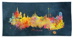 Moscow Skyline  Beach Sheet by Justyna JBJart
