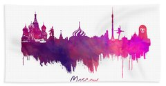 Moscow Skyline Purple Beach Towel by Justyna JBJart