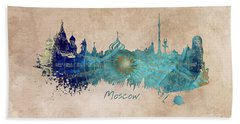 Moscow Skyline Wind Rose Beach Towel by Justyna JBJart