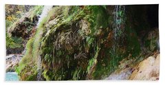 Beach Towel featuring the photograph Moss And Waterfalls by Sheila Brown
