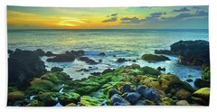 Beach Towel featuring the photograph Moss Covered Rocks At Sunset In Molokai by Tara Turner