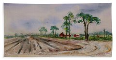 Beach Towel featuring the painting Moss Landing Pine Trees Farm California Landscape 2 by Xueling Zou