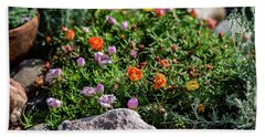 Moss Rose In The Rocks #1 Beach Towel