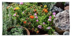 Moss Rose In The Rocks #2 Beach Towel