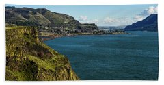 Mossy Cliffs On The Columbia Beach Towel