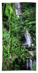 Mossy Trees And Waterfalls  Beach Towel