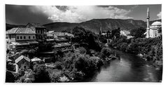 Mostar In Black And White Beach Towel