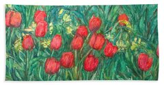 Beach Sheet featuring the painting Mostly Tulips by Kendall Kessler