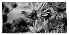 Moth And Flowers Beach Towel