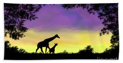 Mother And Baby Giraffe At Sunset Beach Towel