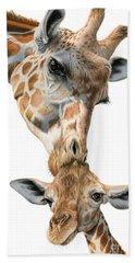 Mother And Baby Giraffe Beach Sheet by Sarah Batalka