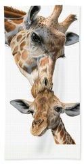 Mother And Baby Giraffe Beach Towel by Sarah Batalka