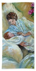 Mother And Child By May Villeneuve Beach Sheet by Susan Lafleur for May Villeneuve