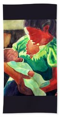 Beach Towel featuring the painting Mother And Child In Red2 by Kathy Braud