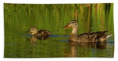 Beach Towel featuring the photograph Mother And Child Mallards by Jean Noren