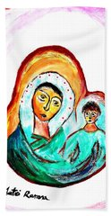 Mother And Child Beach Sheet by Ramona Matei