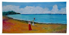 Beach Towel featuring the painting Mother And Daughter by Marilyn  McNish