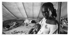 Mother And Her Starving Child In A Tuberculosis Tent, African Di Beach Towel