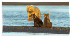 Mother Gazing At Her Cubs Beach Towel
